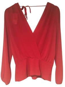 Naked Zebra Sheer Chiffon Tie Flowy Polyester Top Red