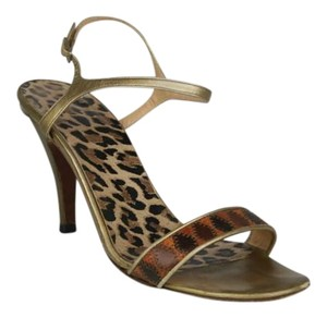 Dolce&Gabbana Leopard Gold Leather Ankle Strap GOLD, BROWN Sandals