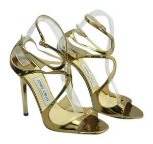 Jimmy Choo Lang Heels Brushed Gold Sandals