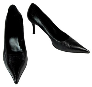 Gucci Black Leather Gg Heels Pumps