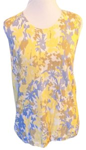Kasper Stretchy Floral Sleeveless Knit Shell Top Blue, Yellow and Beige