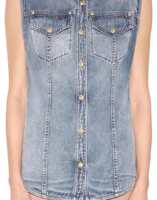 Preload https://img-static.tradesy.com/item/19506931/balmain-denim-vest-shirt-36-s-kardashian-button-down-top-size-4-s-0-3-650-650.jpg