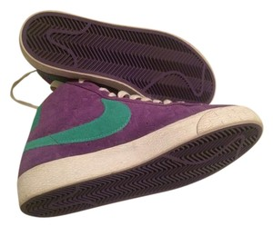 Nike Suede Logo Bold Stripe Bootie Purple Athletic