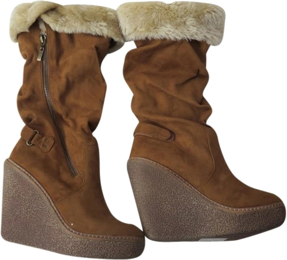 Bakers Brown Copper Tan Beige Knee New Suede Faux Fur Knee Beige High Wedge Boots/Booties f09373
