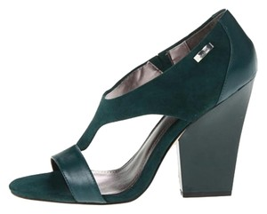 Calvin Klein Suede Chunky Leather Peep Toe Soft Hunter green Formal