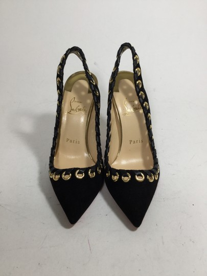 Christian Louboutin Ostri Slingback Grommet Black and Gold Pumps