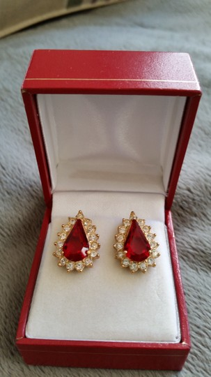 Other Gold tone red crystal and cubic zirconia earrings