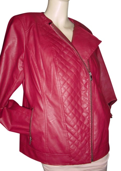 Item - Maroon Burgundy By Lisa Rinna Faux Quilted Jacket Size 10 (M)