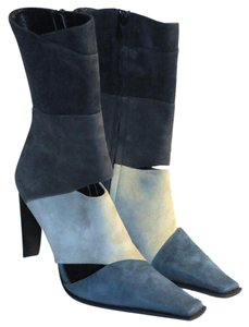 Goffredo Fantini Suede Teal Blue Boots