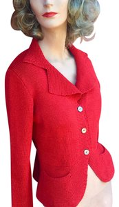 Red Cardigan Hand Made Pockets Shell Buttons Cardigan