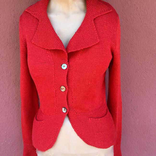 Red Cardigan Hand Made Pockets Shell Buttons Cardigan Image 1