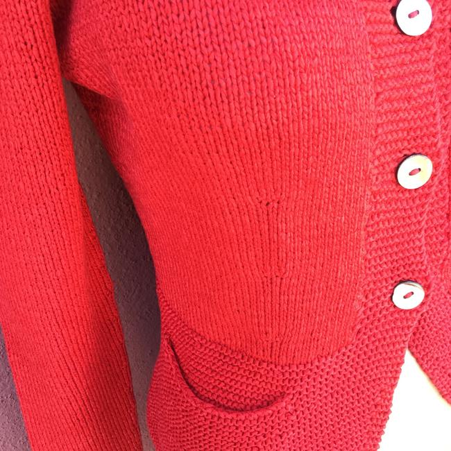 Red Cardigan Hand Made Pockets Shell Buttons Cardigan Image 2