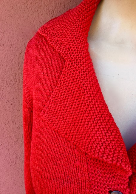 Red Cardigan Hand Made Pockets Shell Buttons Cardigan Image 3