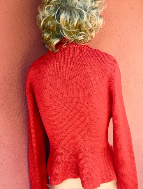 Red Cardigan Hand Made Pockets Shell Buttons Cardigan Image 5