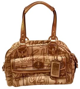 Coach Tattersal Ivory Satchel in Gold