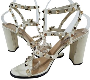 Valentino Leather Caged Pyramid Studs Ivory Pumps
