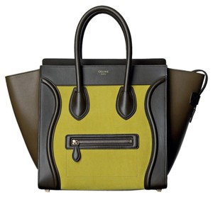 Céline Luggage Mini Luggage Tote in Yellow olive brown Celine