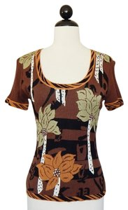 Cache Knit Stretchy Floral Top Brown