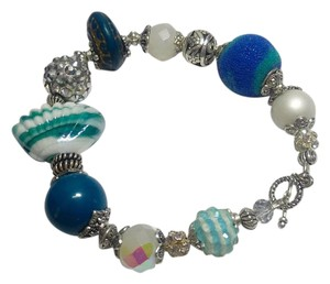 Other Blue Silver White Glass & Crystal Bracelet J2901