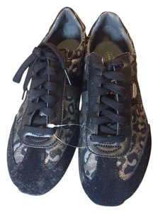 Coach Sneaker Black leopard suede and leather Athletic