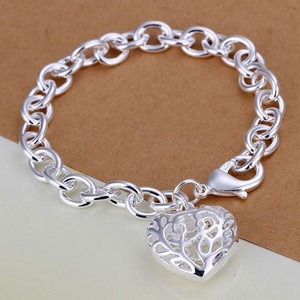 Other Brass Silver Plated Heart Shaped Pendant on Link Chain Bracelet