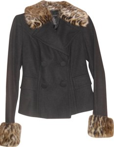 INC International Concepts Leopard Faux Fur Pea Coat