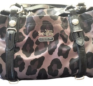 Coach Satchel in Black/Gray/Silver