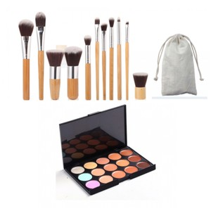 Other 11pc. Bamboo Makeup Brushes + Pouch + 15-Color Creme Concealer Palette