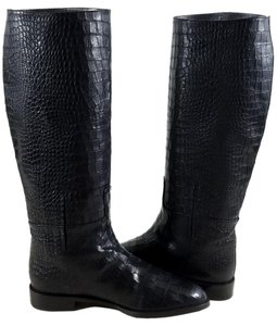 Stuart Weitzman Crocodile-embossed Almond Toe Black Boots