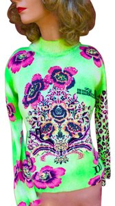 Custo Barcelona Italian Copyright Design Beaded Sequin Flowers Sweater