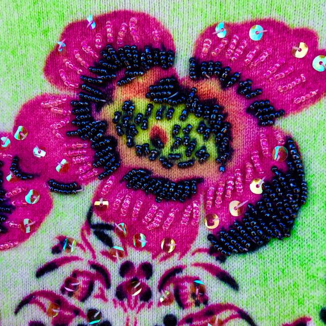Custo Barcelona Italian Copyright Design Beaded Sequin Flowers Sweater Image 4