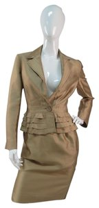 Valentino Valentino Roma Gold Silk Cotton Peplum Jacket Skirt Suit