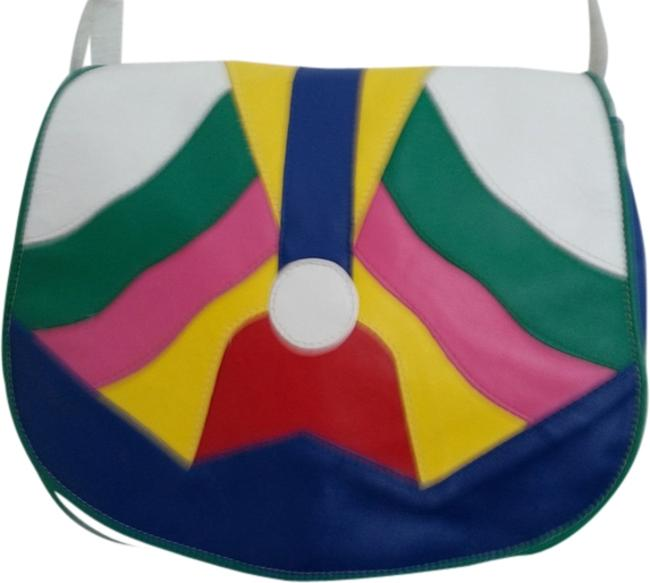 Item - White Green Yellow Pink Royal Blue Red Leather Shoulder Bag