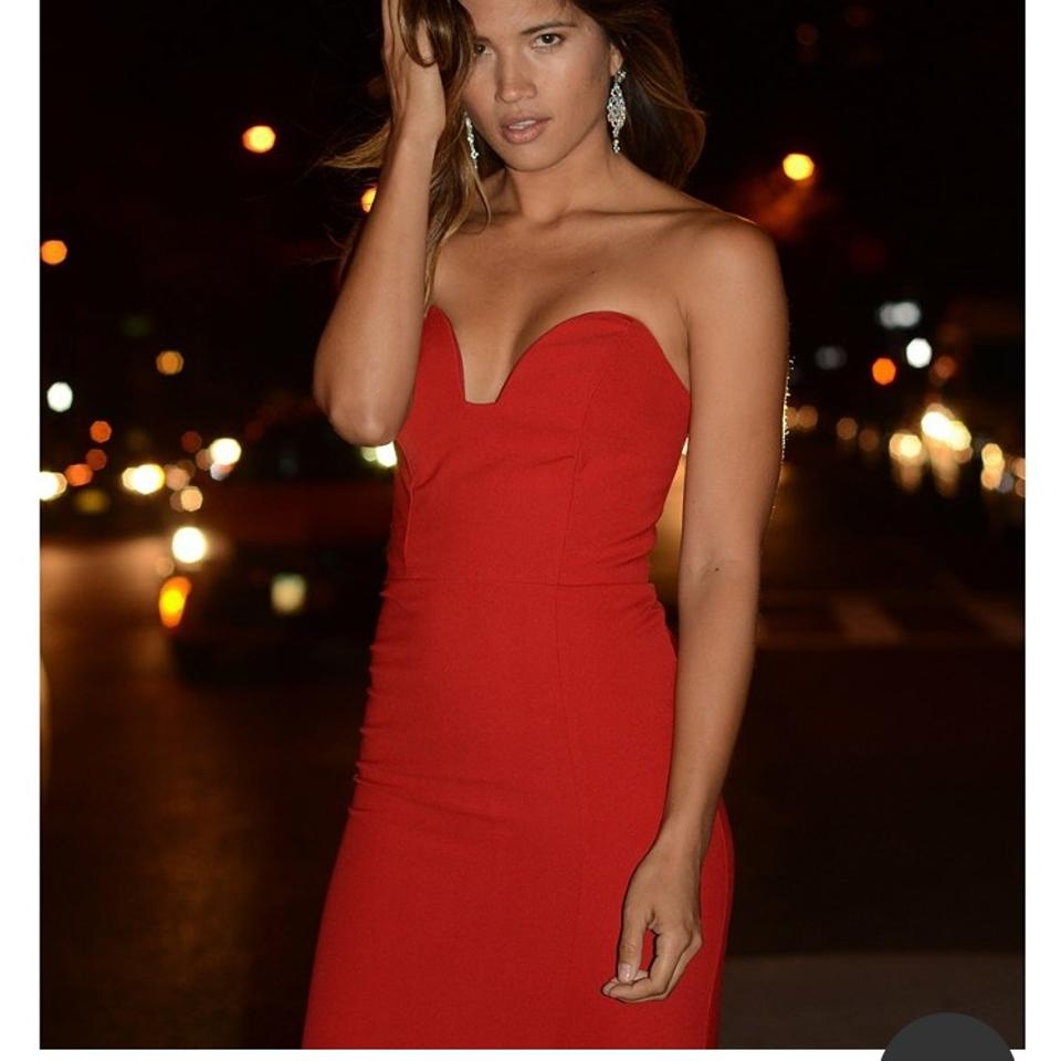 Nicole Miller Red Techy Crepe Siren Strapless Gown Long Formal Dress ...