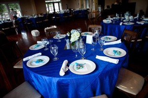 Royal Blue And Silver Pintuck Tablecloths