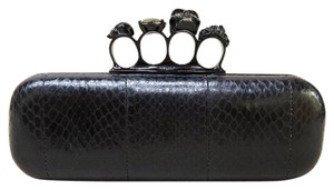 Alexander McQueen Snakeskin Box Handle black Clutch