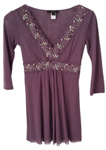 Express Tunic Mesh Embellished Top Mauve