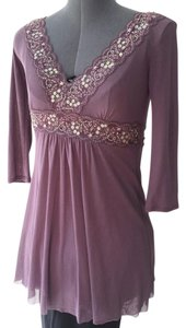 Express Purple Tunic Mesh Embellished Top Mauve