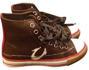 True Religion Leather Shoe Laces Monogram Chocolate brown, red and white Athletic