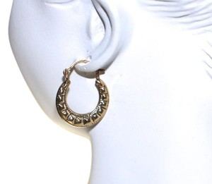 10k Yellow Gold Round Ribbed Hoop Pierced Earrings, Preloved
