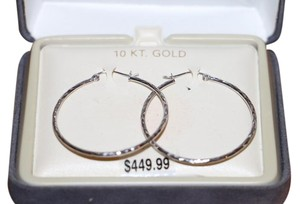 $449-- 10k White Gold Diamond-cut Hinged Hoop Earrings