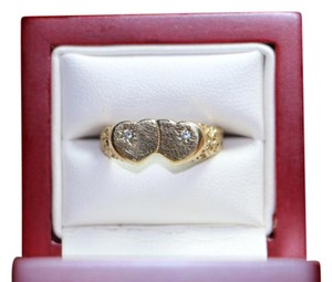 Vintage Diamond Double Heart Ring -10K Yellow Gold, 2 grams, Size 6