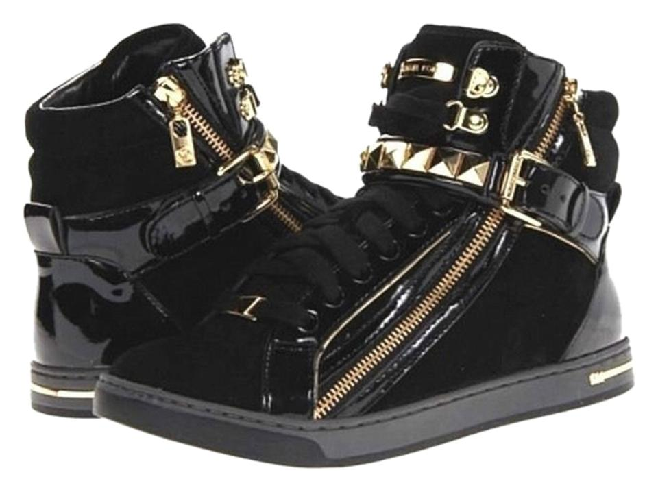 6cf0840946f4 Michael Kors Black Glam Studded High Top Sneakers M Suede Patent Sneakers