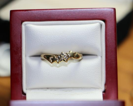 Other 10K Yellow Gold Diamond w/ 3 Star Shape Ring, .8 grams, Size 4.75 Image 1