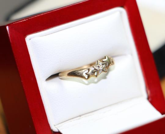 Other 10K Yellow Gold Diamond w/ 3 Star Shape Ring, .8 grams, Size 4.75 Image 2