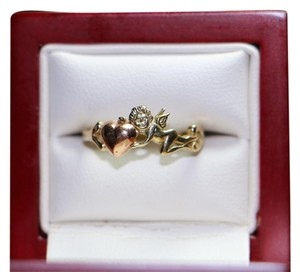 10k Black Hills Gold Heart Ring with Angel, 1.4 Grams, Size 7.5