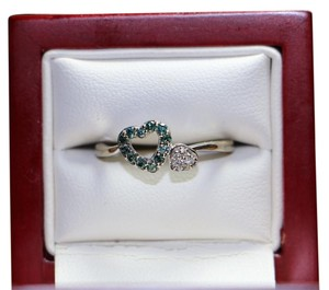 Other DIAMOND EMERALD BLUE GREEN HEART RING 10K GOLD, SIZE 7.5, 2 GRAMS