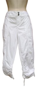 INC International Concepts Cropped Ruched Bling Capri/Cropped Pants White