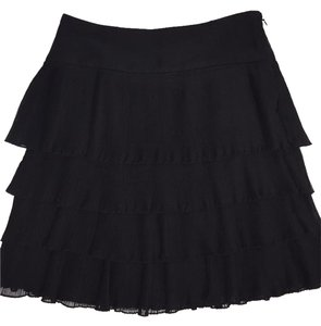 Ann Taylor LOFT Polyester Ruffle Dress Skirt BLACK
