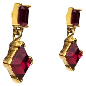 MONET Vintage Monet Ruby Crystal Dangle Drop Earrings